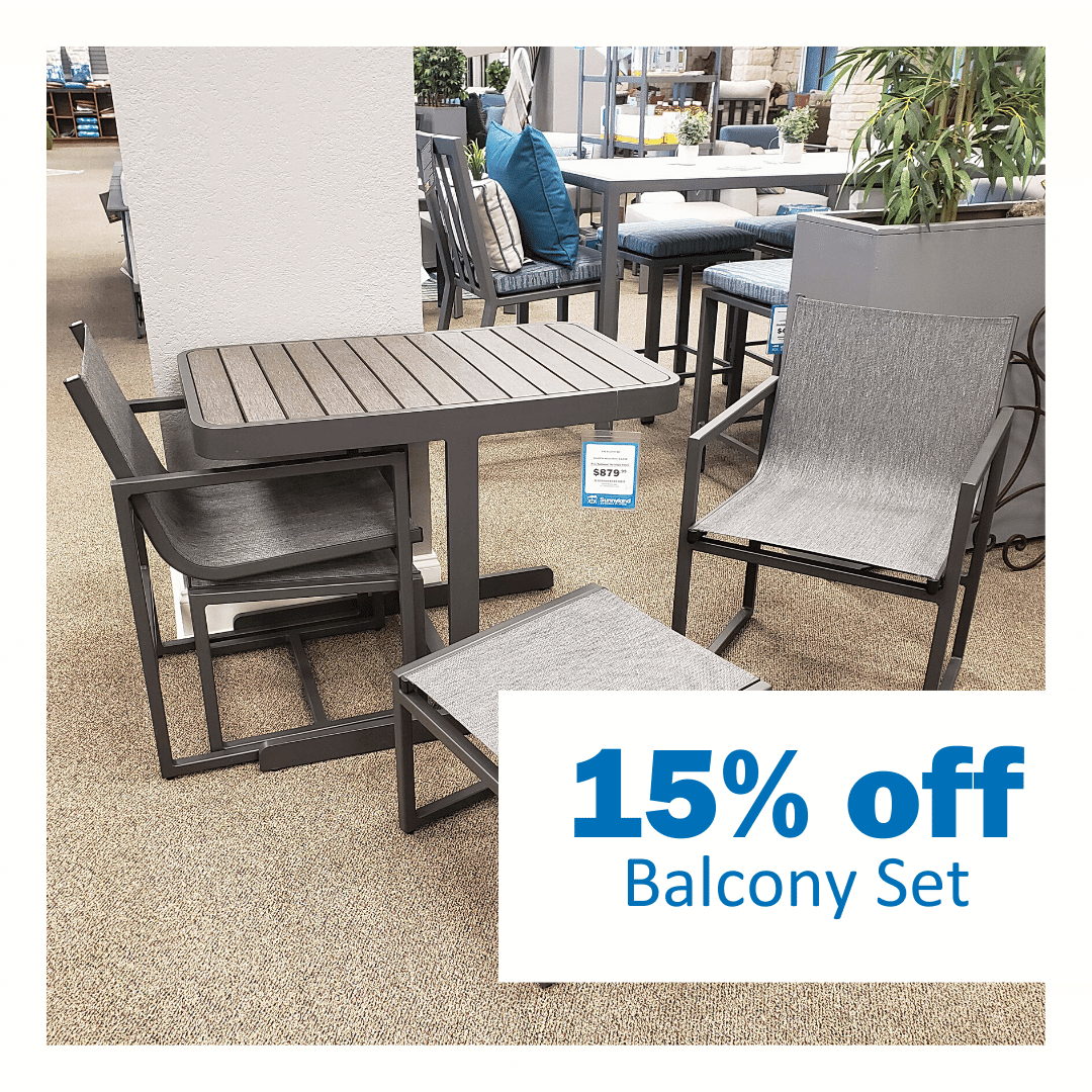save 15% klaussner balcony set