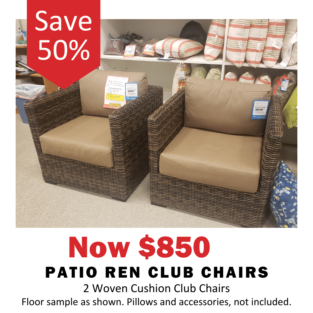 Patio Ren Club Chairs 50% Off