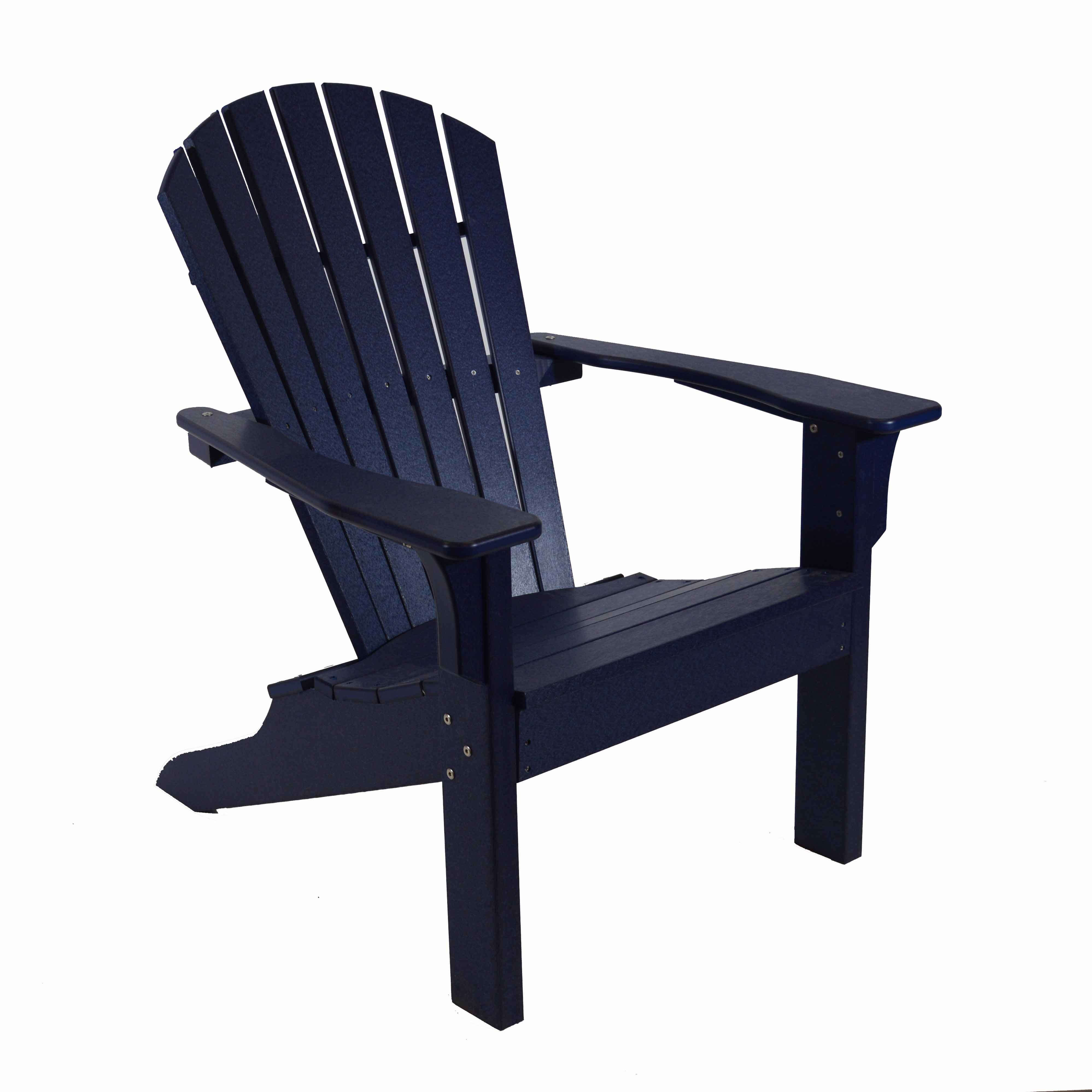 Seaside Casual Adirondack Shell Back Chair Navy Outdoor