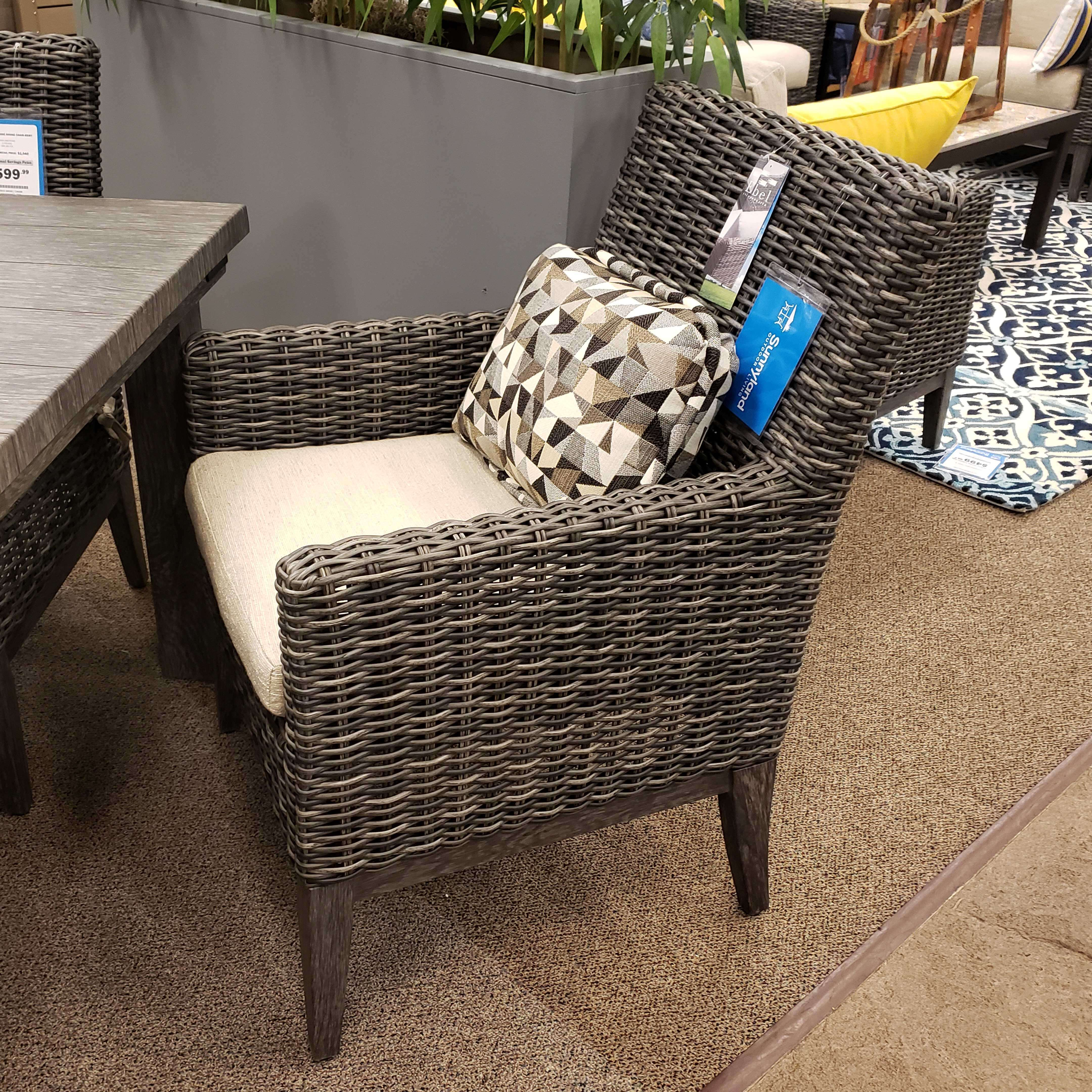 Ebel Remy Woven Cushion Arm Dining Chair Outdoor Furniture