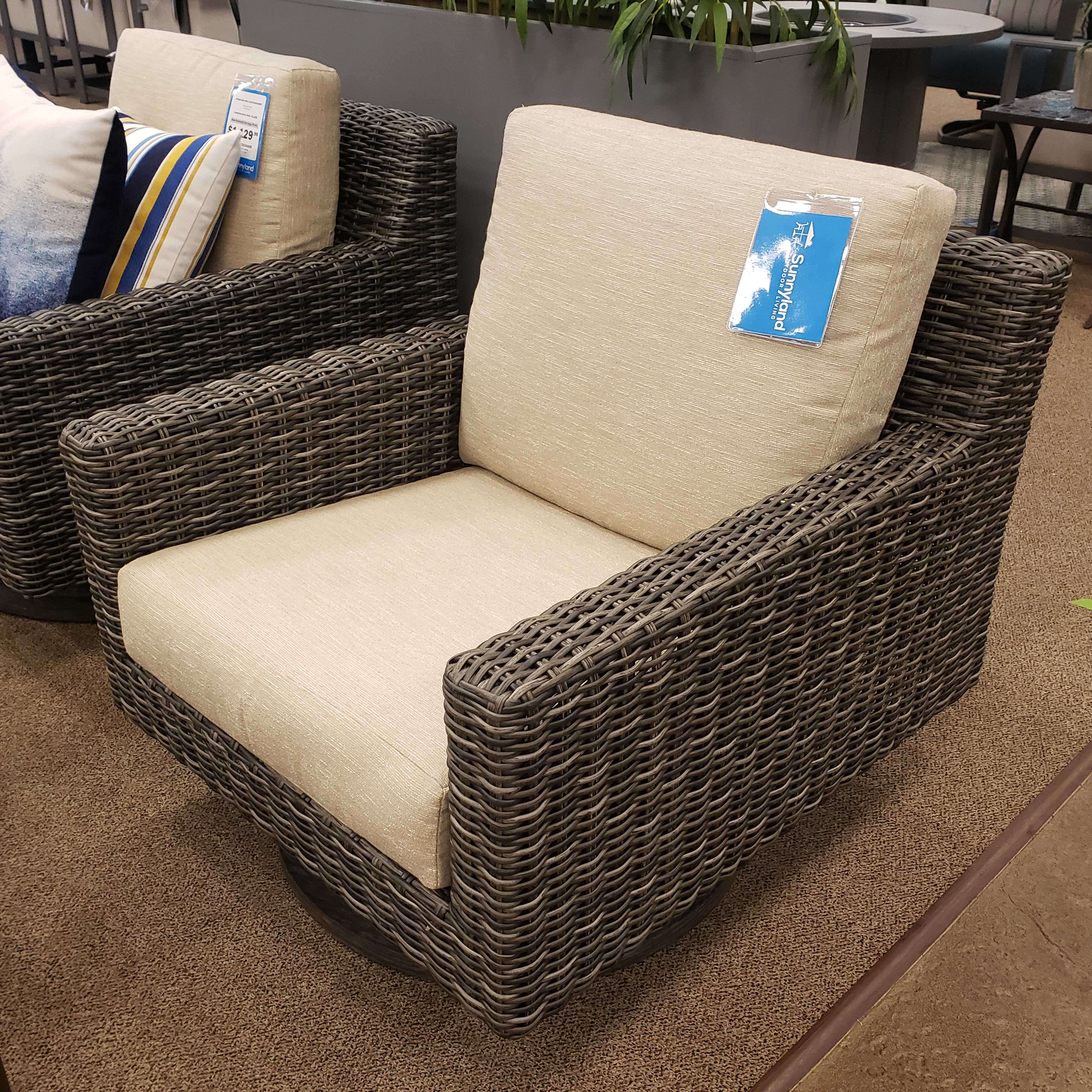 Ebel Remy Woven Cushion Swivel Club Chair Outdoor