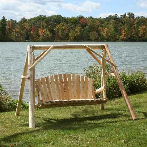 5' Cedar Log Swing & Stand Set