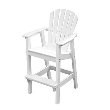 Adirondack Shell Back Bar Chair - White