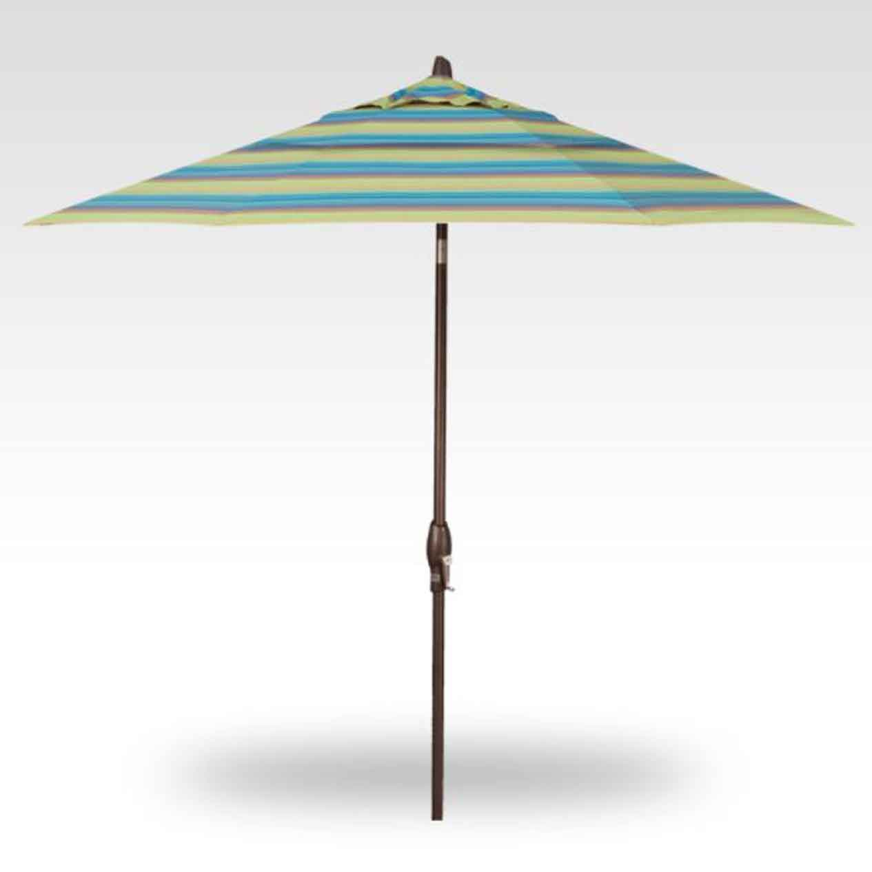 9' Auto Tilt Market Umbrella - Lagoon Stripe