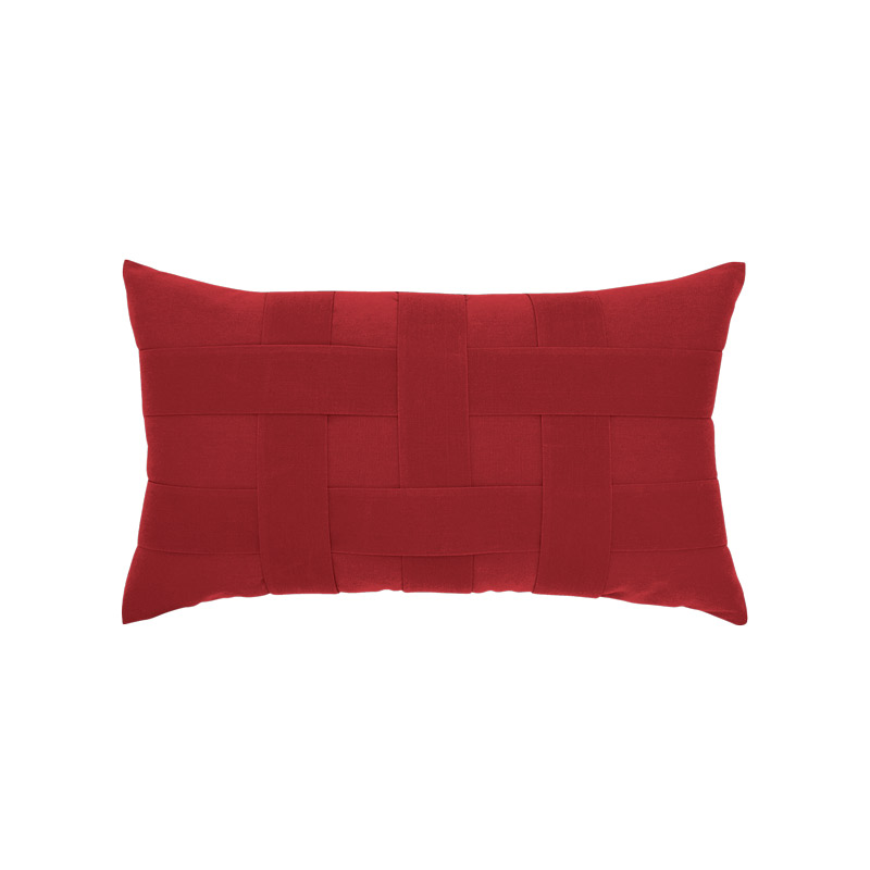 Basketweave Rouge Lumbar Pillow