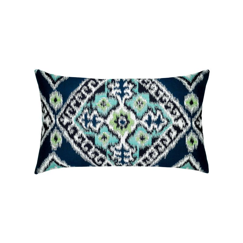 Ikat Diamond Peacock Lumbar Pillow